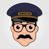 Train Conductor Cartoon Face with Glasses. stock illustration