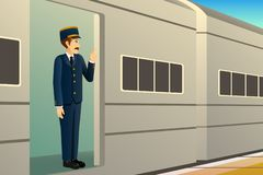Train Conductor Illustration royalty free stock images