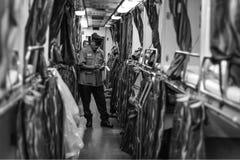 Train Conductor. KTM Train Passenger Black White Monochrome Peace Smile Royalty Free Stock Photos