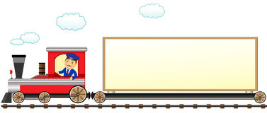 Train with conductor and space for text. Cartoon isolated train with conductor and space for text Royalty Free Stock Image