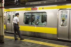 Train controller in Tokyo Stock Photo