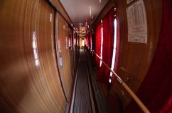 Train. The corridor to the sleeping car Stock Photography