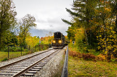 Train in a through the Countryside on a Cloudy Autumn Day Stock Photography