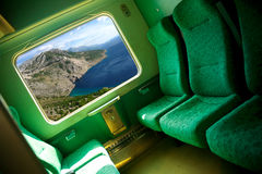 Train coupe. Interior of the train coupe in green Stock Photo