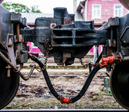 Train coupler close-up Stock Images