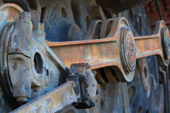 Train Coupling Rods LR. Close up of old rusted large train engine Train Coupling Rods stock photography