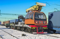 Train crane carriage. Stock Photos
