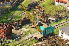 Train crane railcar Stock Image