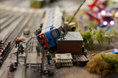 Train crash. Crashed train in the rail station miniature Stock Images