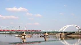 Train. Crosses the bridge on river stock video footage