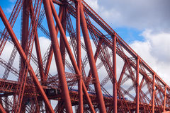 Train crosses the Forth Railway Bridge in Edinburgh, Scotland Royalty Free Stock Images