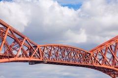 Train crosses the Forth Railway Bridge in Edinburgh, Scotland Stock Image