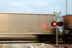 Train crossing. In front of signal Stock Photo