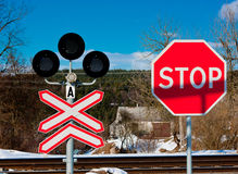 Train crossing. The train crossing with semaphore Stock Images