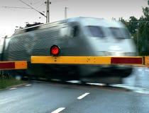Train Crossing. A train crossing the train crossing Stock Photo