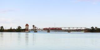 Train crossing bascule bridge at Lindaunis Royalty Free Stock Photography