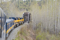 Train Crossing Bridge. Train crossing a bridge in Alaska Royalty Free Stock Photography
