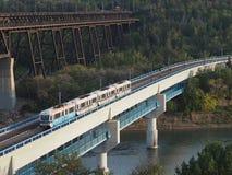 Train Crossing Bridge In Edmonton Alberta Royalty Free Stock Images