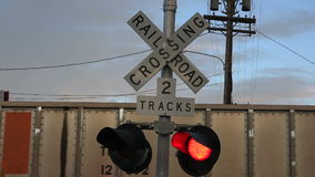 Train Crossing Lights stock video footage