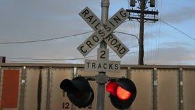 Train Crossing Lights stock video footage