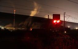 Train crossing at night Stock Image