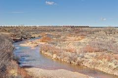 Train crossing the Pecos River stock photo