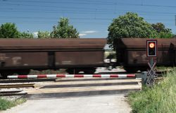 Train crossing road. Stock Photos