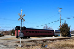 Train with crossing signal Royalty Free Stock Image