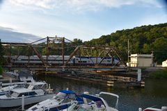 Free Train Crossing Swing Bridge Stock Photo - 74264420