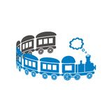 Train. Cute blue train on a white background - curl shaped. Vector illustration Stock Photo