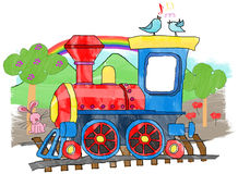 Train - cute cartoon toy train. Cute colorful toy train in a painting mode with png additional format with a beautiful background with trees, flowers, birds Royalty Free Stock Photo