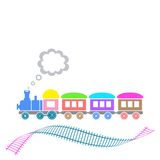 Train. Cute colorful retro train with waved track isolated Royalty Free Stock Photo