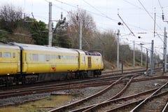 Train d'essai du TGV de rail de réseau sur WCML chez Carnforth Images libres de droits
