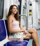 Train d'intérieur de passagère de fille Photo libre de droits
