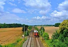 Train dans la campagne tchèque Images libres de droits