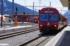 The train at Davos station , Switzerland Royalty Free Stock Images