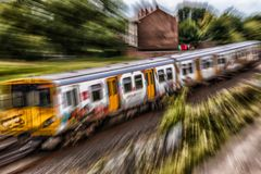Train de approche Photos libres de droits