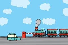 Dépassement de train/croisement de chemin de fer Illustration Libre de Droits