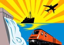 train de bateau d'avion de barrage illustration stock