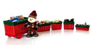 train de bonhomme de neige de Noël Photos libres de droits
