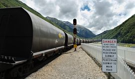 Train de charbon au passage d'Arthurs, Ne Images stock