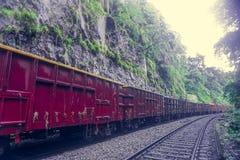 Train de chemin de fer et de fret passant par la jungle et les montagnes et allant à la cascade de Dudh Sagar photographie stock libre de droits