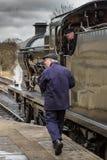 Train de conducteur et de vapeur Photographie stock
