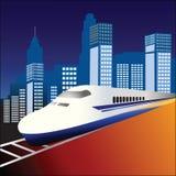 Train de Fastrack avec la ville derrière Photo stock