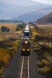 Train de fret dans les montagnes de désert. Photo stock