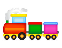 Train de jouet d'étain avec des lettres Image stock