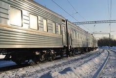 Train de l'hiver Photographie stock libre de droits
