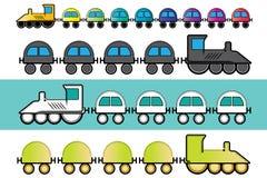 Train de locomotive à vapeur de bande dessinée avec l'illustration colorée de chariots Image libre de droits