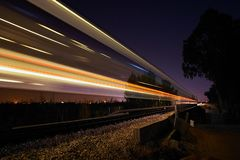 Train de nuit Photos stock