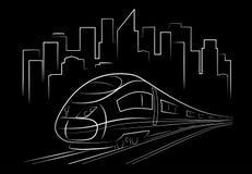 Train de nuit abstrait de dessin illustration de vecteur